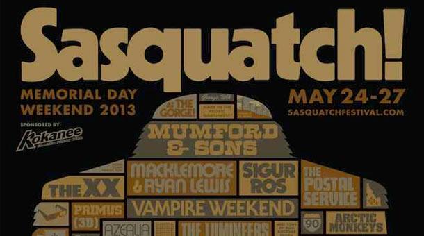 Sasquatch 2013 Lineup