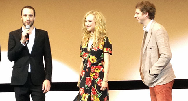 Director Sebastián Silva and stars Juno Temple and Michael Cera on stage for Magic Magic