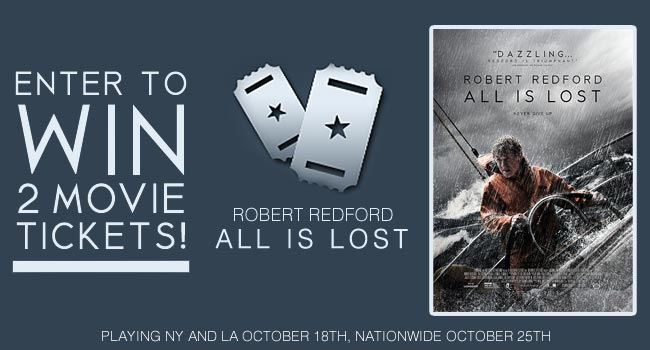Giveaway: 2 Free Movie Tickets to All Is Lost