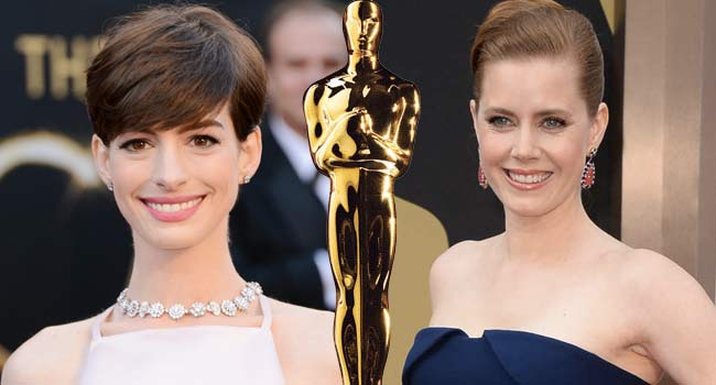 Anne Hathaway and Amy Adams at the Oscars