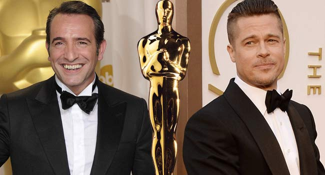 Jean Dujardin and Brad Pitt 2012 Oscars