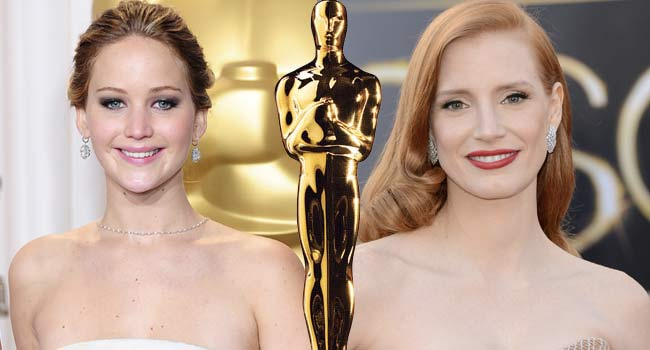 Jennifer Lawrence and Jessica Chastain Oscars