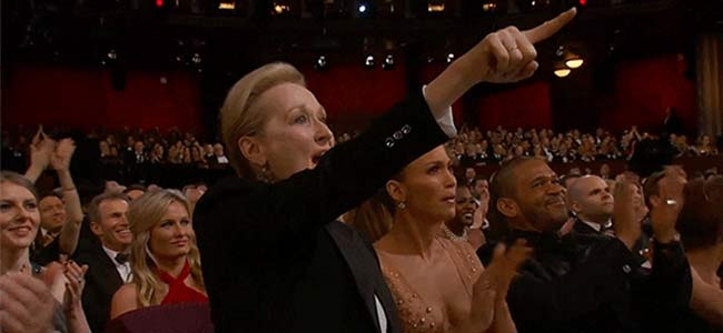 Meryl Streep reaction Oscars 2015